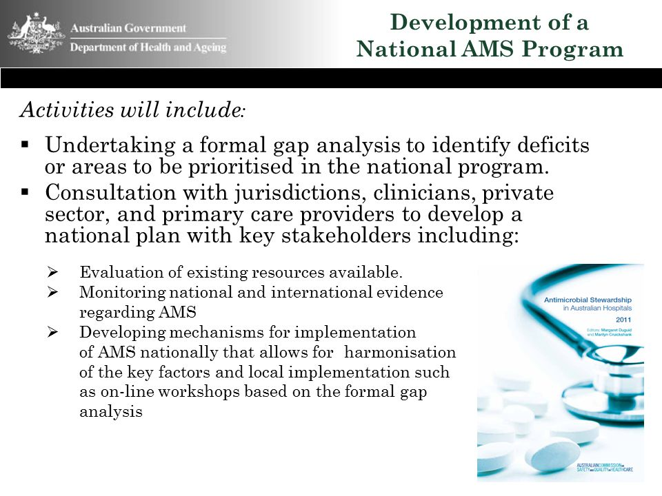 Development of a National AMS Program Activities will include :  Undertaking a formal gap analysis to identify deficits or areas to be prioritised in