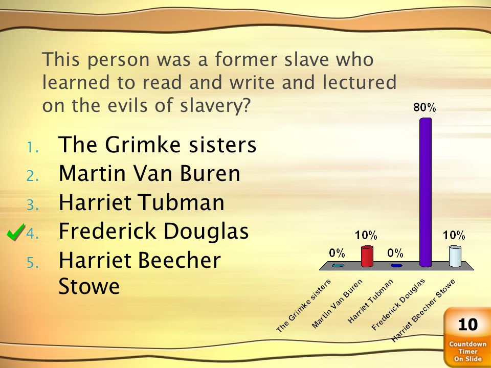 This person was a former slave who learned to read and write and lectured on the evils of slavery? 1. The Grimke sisters 2. Martin Van Buren 3. Harrie