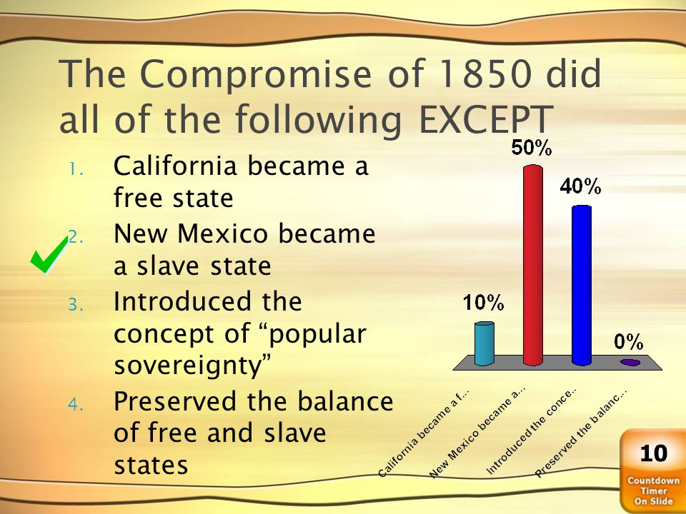 The Compromise of 1850 did all of the following EXCEPT 1. California became a free state 2. New Mexico became a slave state 3. Introduced the concept