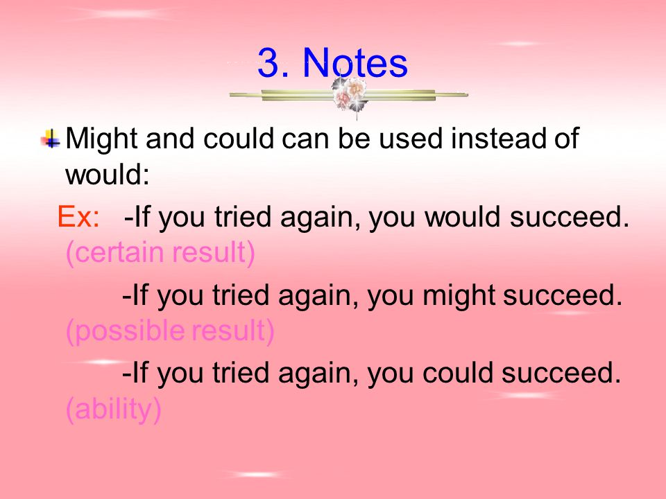 3. Notes Might and could can be used instead of would: Ex: -If you tried again, you would succeed. (certain result) -If you tried again, you might suc