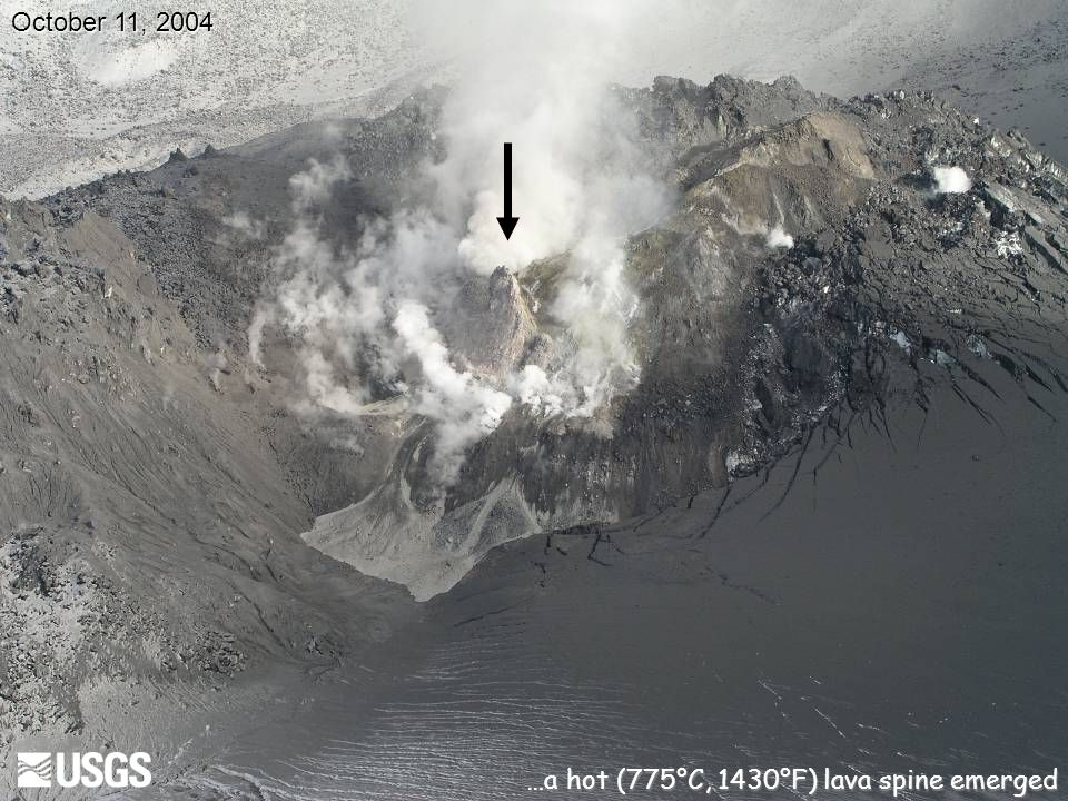 October 11, 2004 …a hot (775°C, 1430°F) lava spine emerged