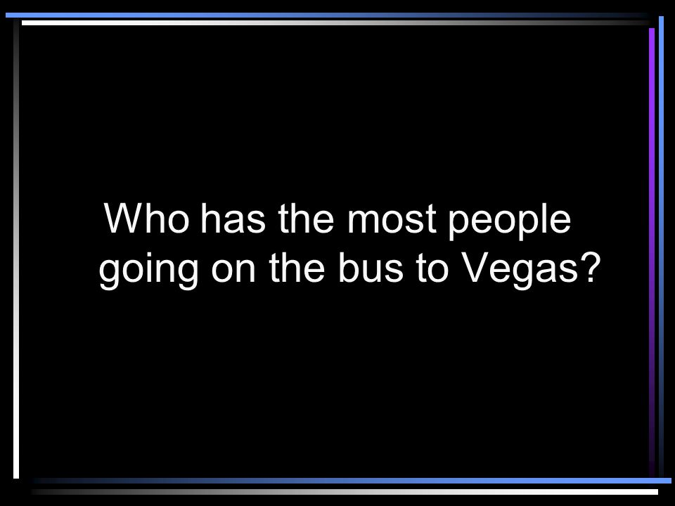 Bonus Question Who will benefit most? Someone who has people going to Vegas with them or someone who doesn't?