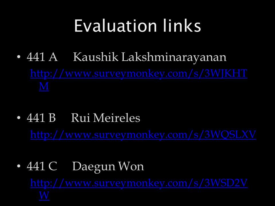 Evaluation links 441 A Kaushik Lakshminarayanan http://www.surveymonkey.com/s/3WJKHT M 441 B Rui Meireles http://www.surveymonkey.com/s/3WQSLXV 441 C Daegun Won http://www.surveymonkey.com/s/3WSD2V W
