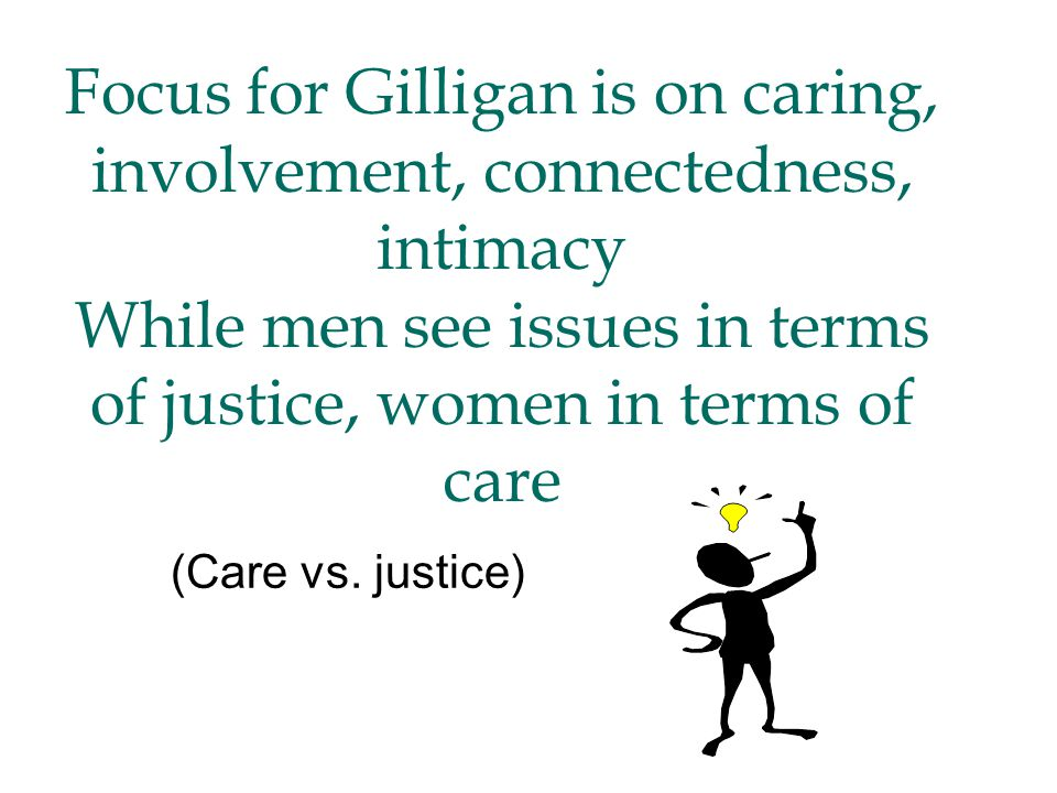 Focus for Gilligan is on caring, involvement, connectedness, intimacy While men see issues in terms of justice, women in terms of care (Care vs.