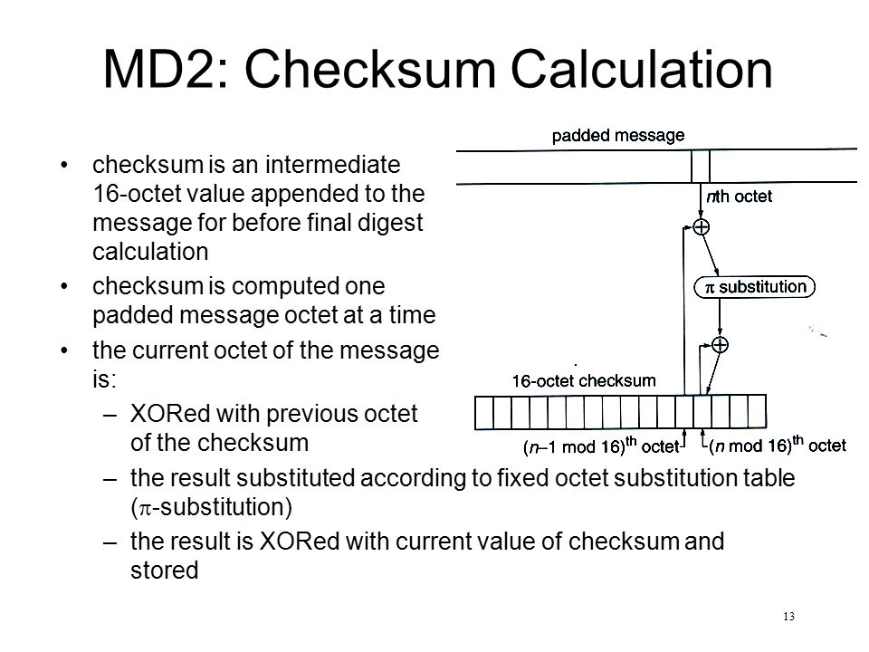 13 MD2: Checksum Calculation checksum is an intermediate 16-octet value appended to the message for before final digest calculation checksum is comput