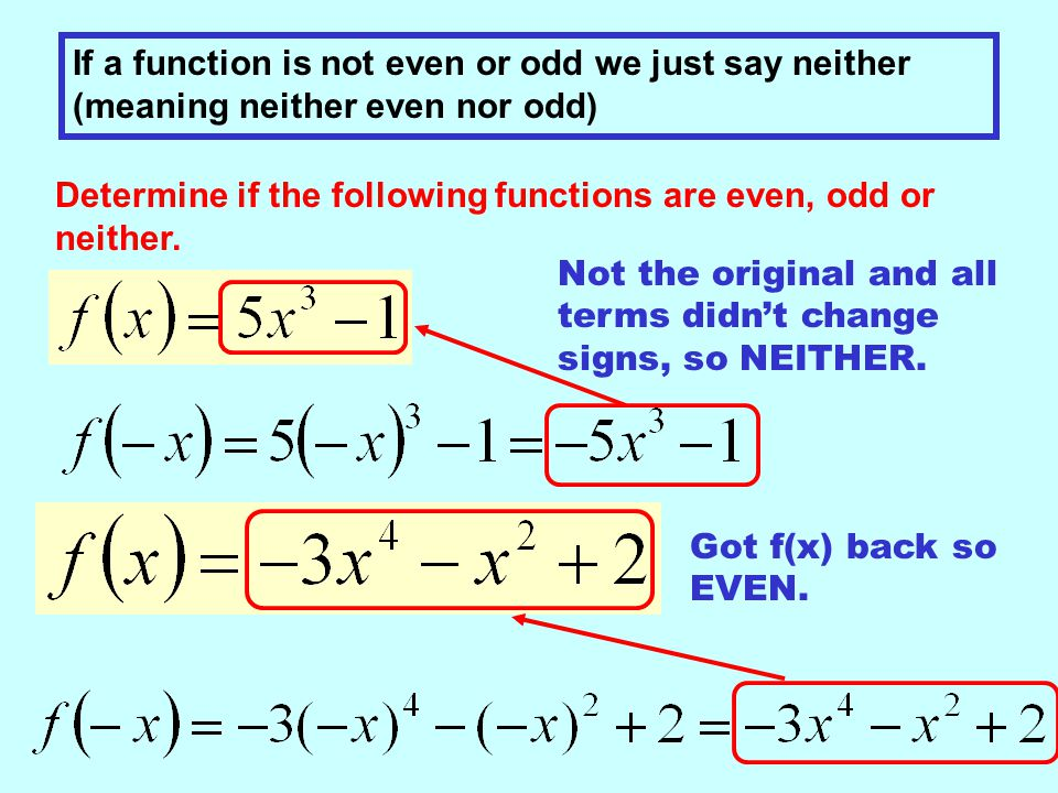 If a function is not even or odd we just say neither (meaning neither even nor odd) Determine if the following functions are even, odd or neither.