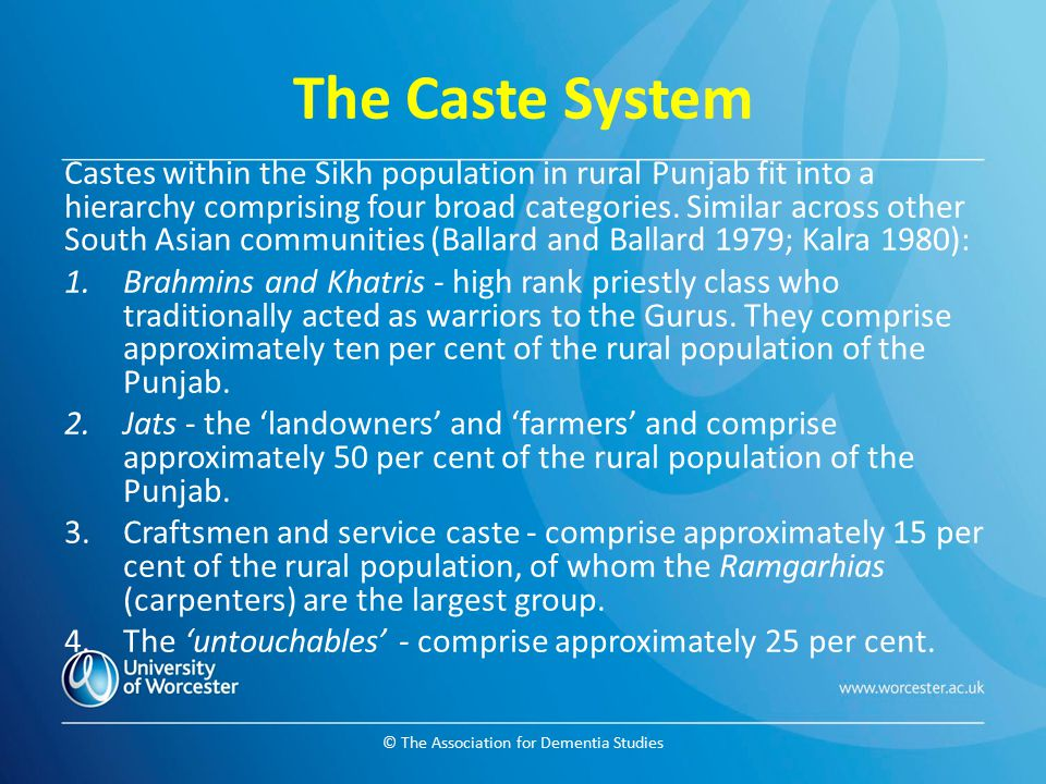 © The Association for Dementia Studies The Caste System Castes within the Sikh population in rural Punjab fit into a hierarchy comprising four broad c