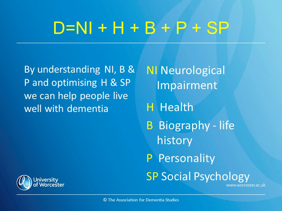 © The Association for Dementia Studies D=NI + H + B + P + SP By understanding NI, B & P and optimising H & SP we can help people live well with dement