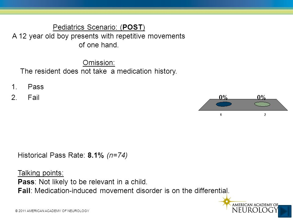 © 2011 AMERICAN ACADEMY OF NEUROLOGY Pediatrics Scenario: (POST) A 12 year old boy presents with repetitive movements of one hand.