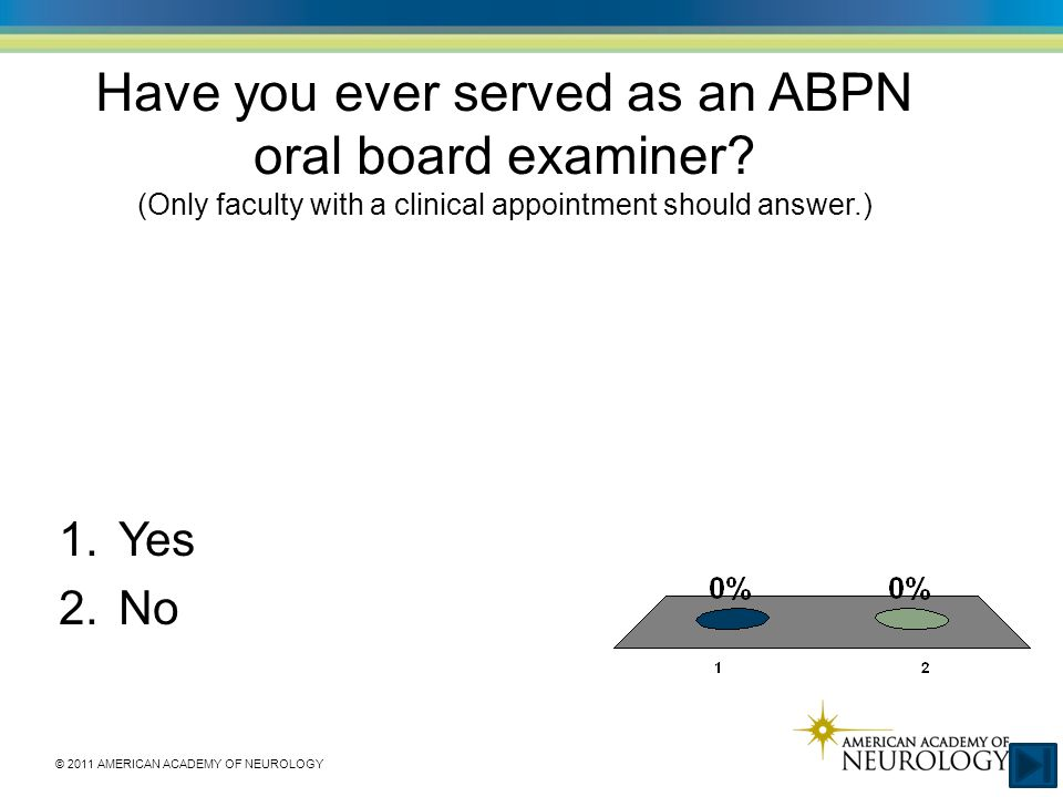 © 2011 AMERICAN ACADEMY OF NEUROLOGY Have you ever served as an ABPN oral board examiner? (Only faculty with a clinical appointment should answer.) 1.