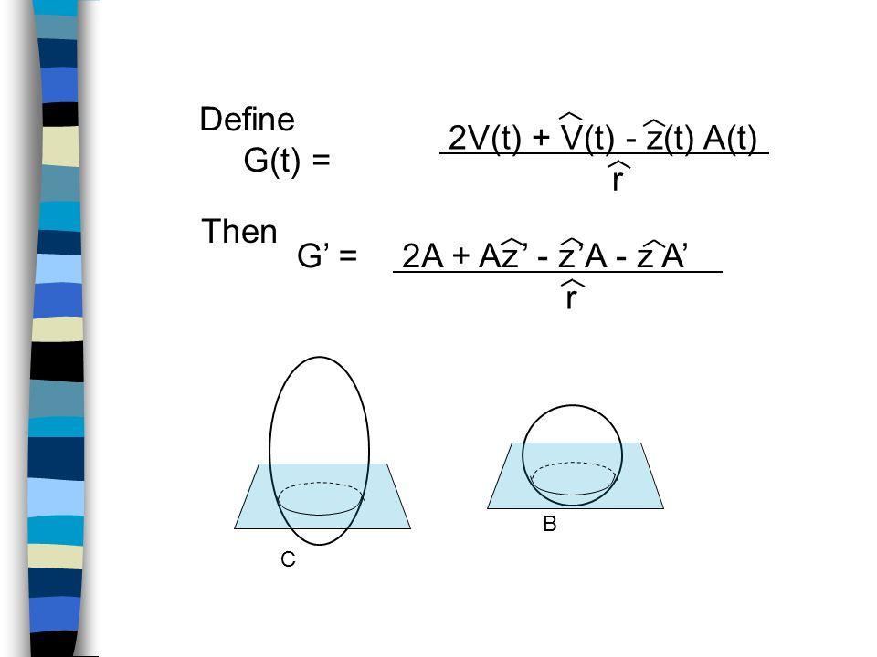 C B Define G(t) = 2V(t) + V(t) - z(t) A(t) r Then G' =2A + Az ' - z 'A - z A' r