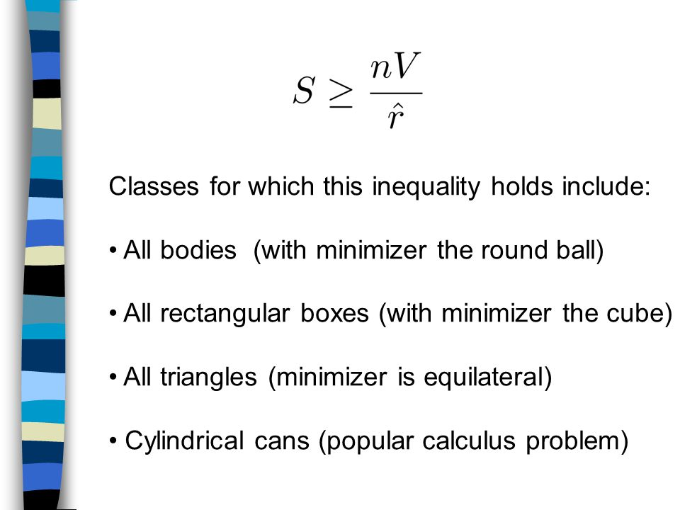Classes for which this inequality holds include: All bodies (with minimizer the round ball) All rectangular boxes (with minimizer the cube) All triangles (minimizer is equilateral) Cylindrical cans (popular calculus problem)