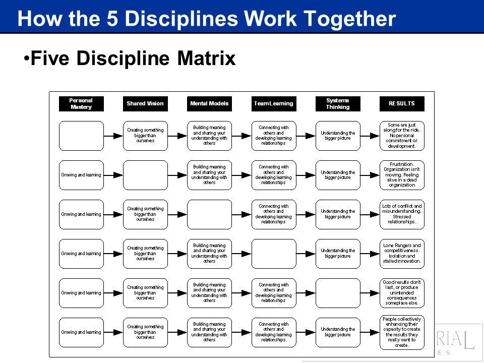 How the 5 Disciplines Work Together Five Discipline Matrix