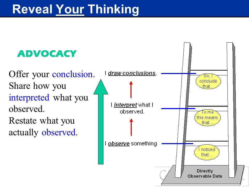 Reveal Your Thinking Offer your conclusion. Share how you interpreted what you observed.