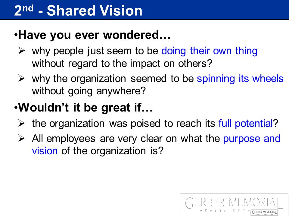 2 nd - Shared Vision Have you ever wondered…  why people just seem to be doing their own thing without regard to the impact on others.