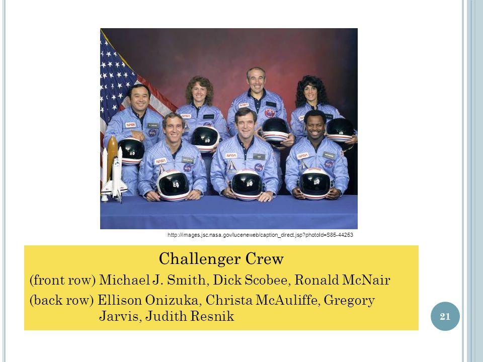 Challenger Crew (front row) Michael J.