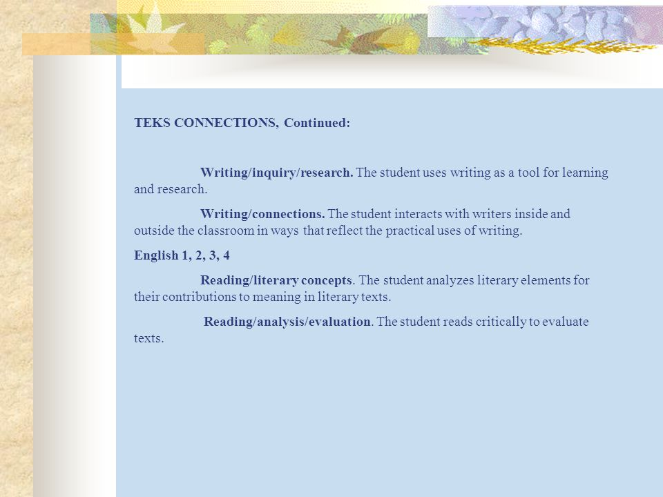 TEKS CONNECTIONS, Continued: Writing/inquiry/research.