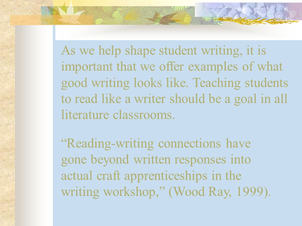 Why use literature to help teach grammar and literary elements.