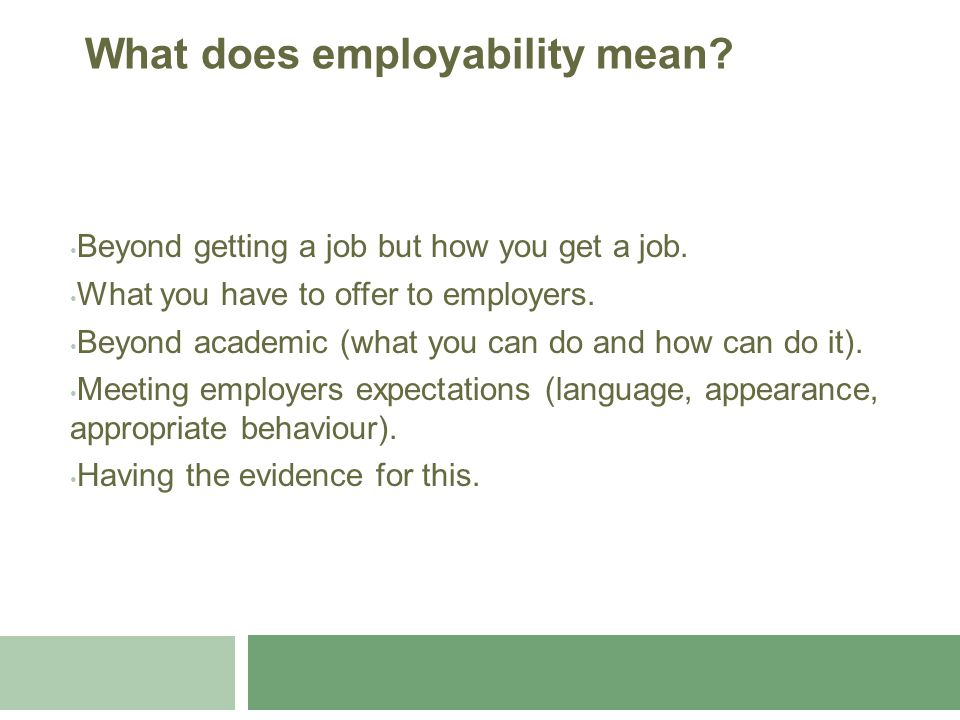 Beyond getting a job but how you get a job. What you have to offer to employers. Beyond academic (what you can do and how can do it). Meeting employer