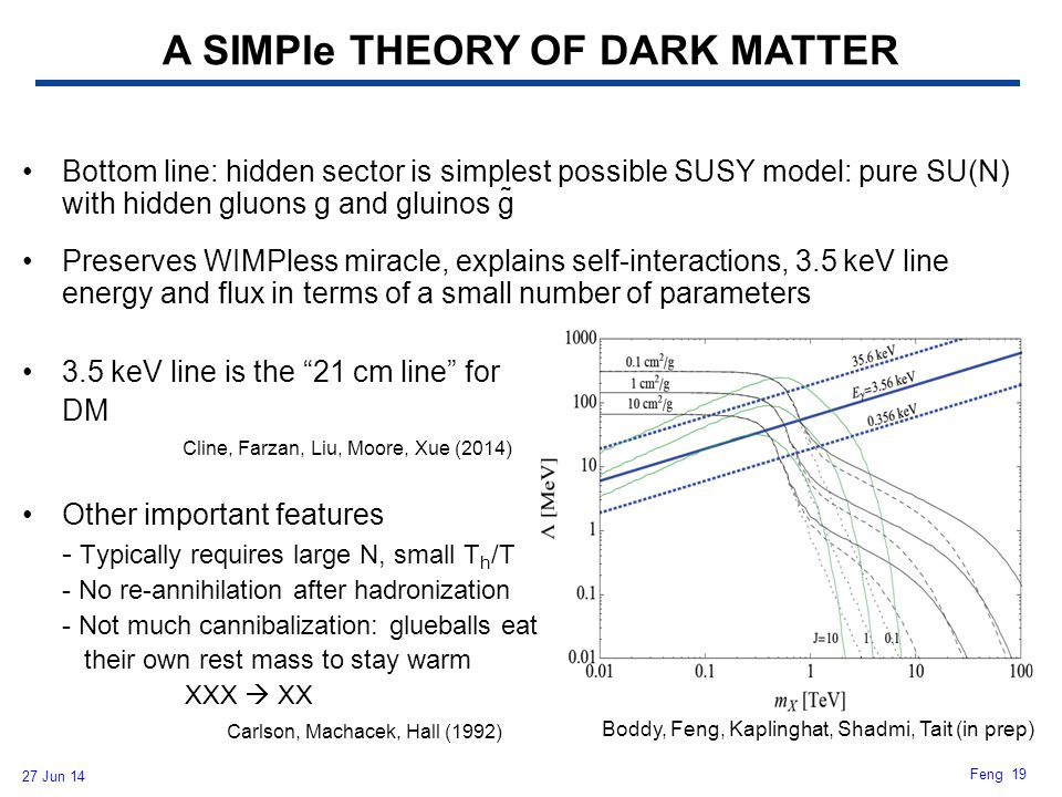 27 Jun 14 Feng 19 Bottom line: hidden sector is simplest possible SUSY model: pure SU(N) with hidden gluons g and gluinos g̃ Preserves WIMPless miracl