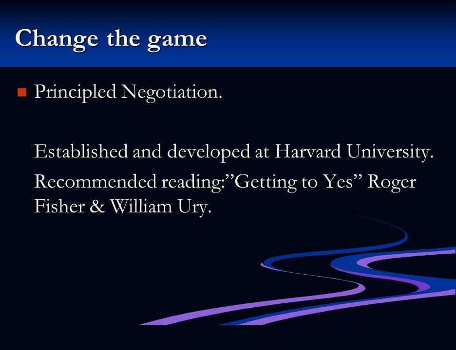 Change the game Principled Negotiation.Principled Negotiation.