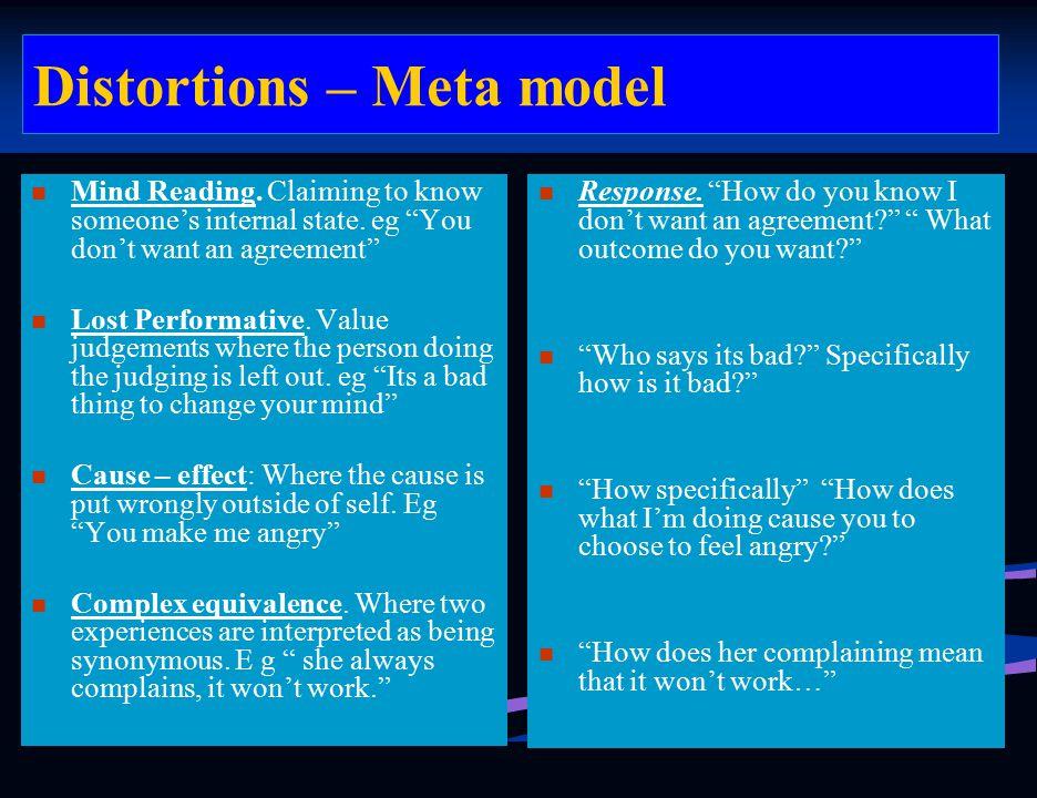 Distortions – Meta model Response.
