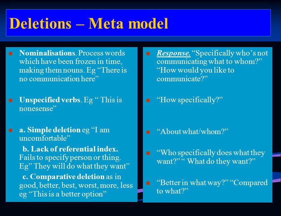Deletions – Meta model Response.