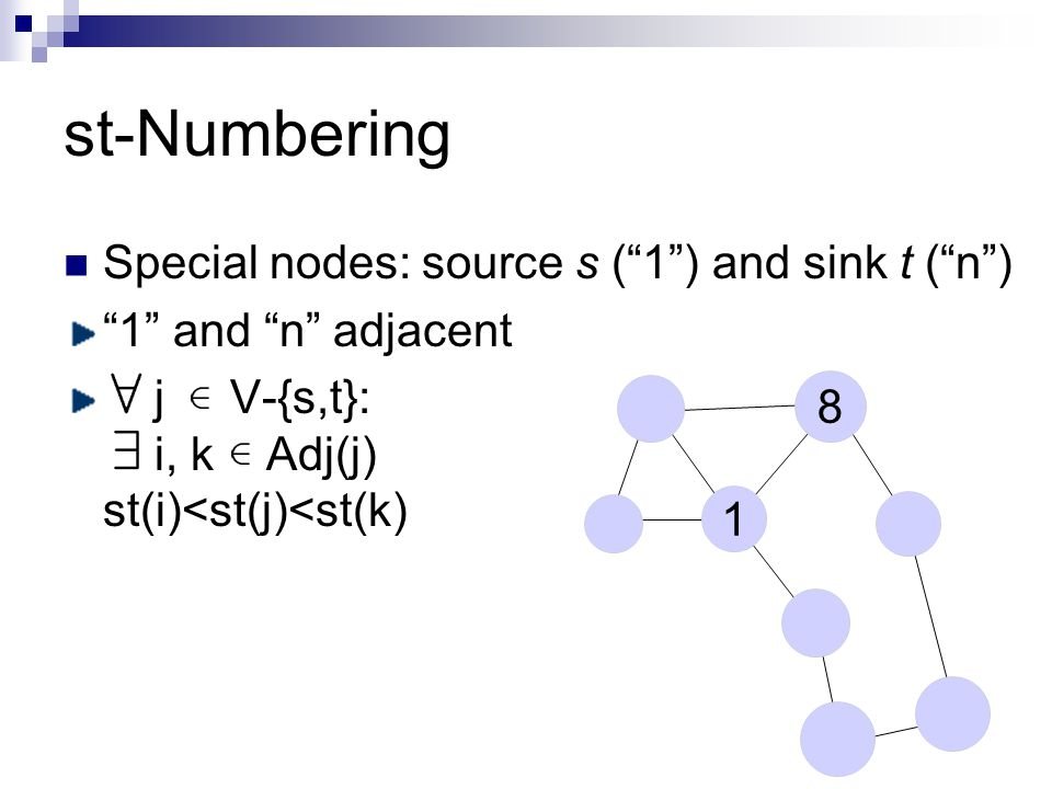 st-Numbering Special nodes: source s ( 1 ) and sink t ( n ) 1 and n adjacent j V-{s,t}: i, k Adj(j) st(i)<st(j)<st(k) 1 8