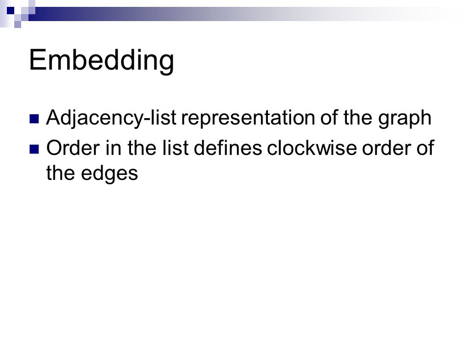 Embedding Adjacency-list representation of the graph Order in the list defines clockwise order of the edges