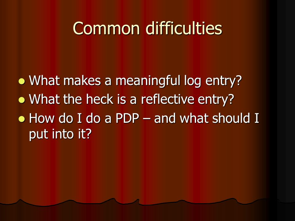 Common difficulties What makes a meaningful log entry.