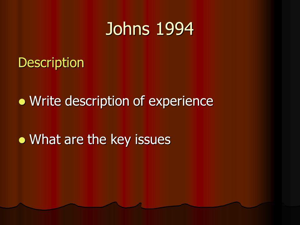 Johns 1994 Description Write description of experience Write description of experience What are the key issues What are the key issues