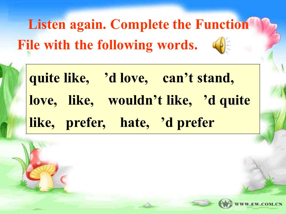 Listen again.Complete the Function File with the following words.