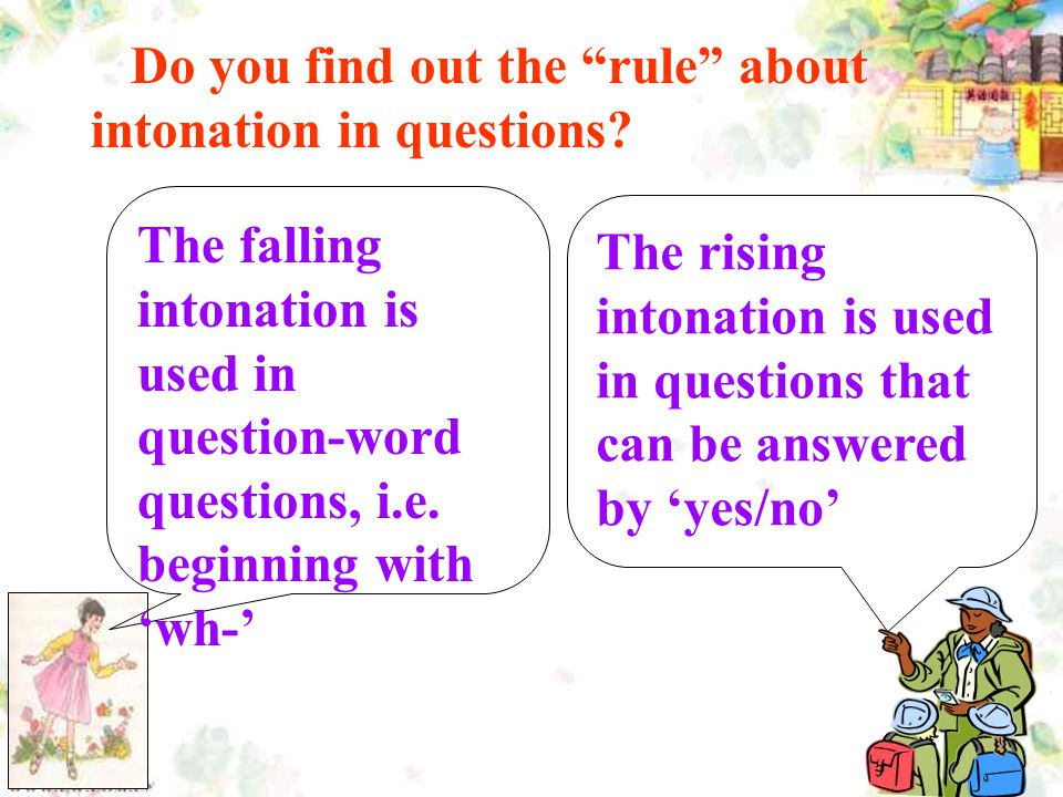 Do you find out the rule about intonation in questions.