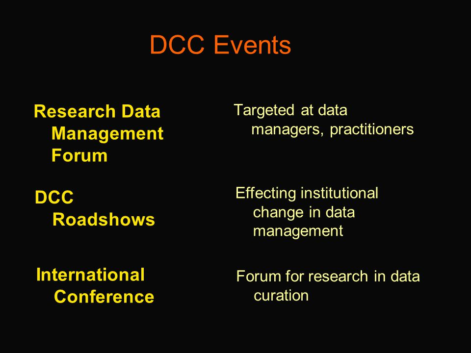 DCC Events Research Data Management Forum Targeted at data managers, practitioners DCC Roadshows International Conference Effecting institutional change in data management Forum for research in data curation