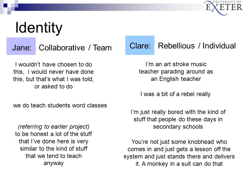 Identity Jane: Collaborative / Team I wouldn't have chosen to do this, I would never have done this, but that's what I was told, or asked to do (referring to earlier project) to be honest a lot of the stuff that I've done here is very similar to the kind of stuff that we tend to teach anyway we do teach students word classes Clare: Rebellious / Individual I'm an art stroke music teacher parading around as an English teacher I'm just really bored with the kind of stuff that people do these days in secondary schools You're not just some knobhead who comes in and just gets a lesson off the system and just stands there and delivers it.