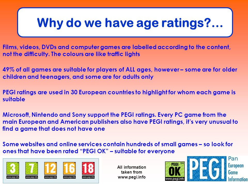 Why do we have age ratings?… Films, videos, DVDs and computer games are labelled according to the content, not the difficulty. The colours are like tr