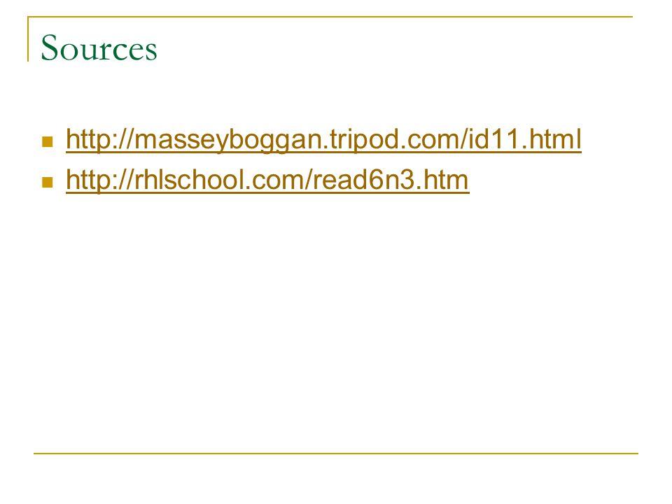 Sources http://masseyboggan.tripod.com/id11.html http://rhlschool.com/read6n3.htm