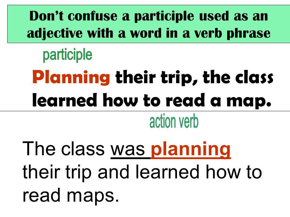 Don't confuse a participle used as an adjective with a word in a verb phrase Planning their trip, the class learned how to read a map.