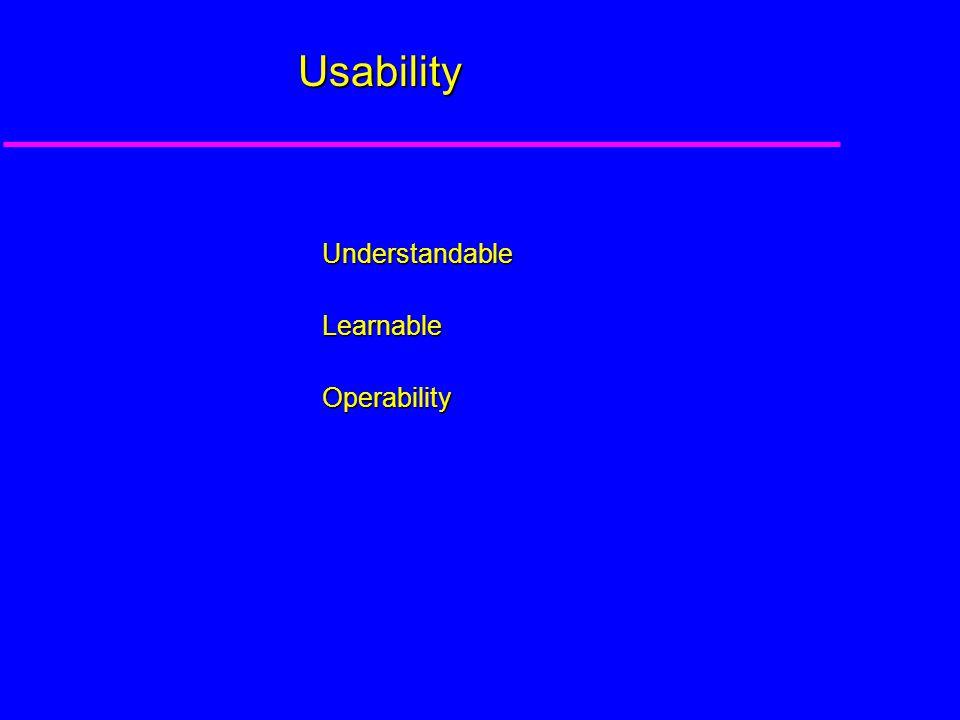 Usability UnderstandableLearnableOperability