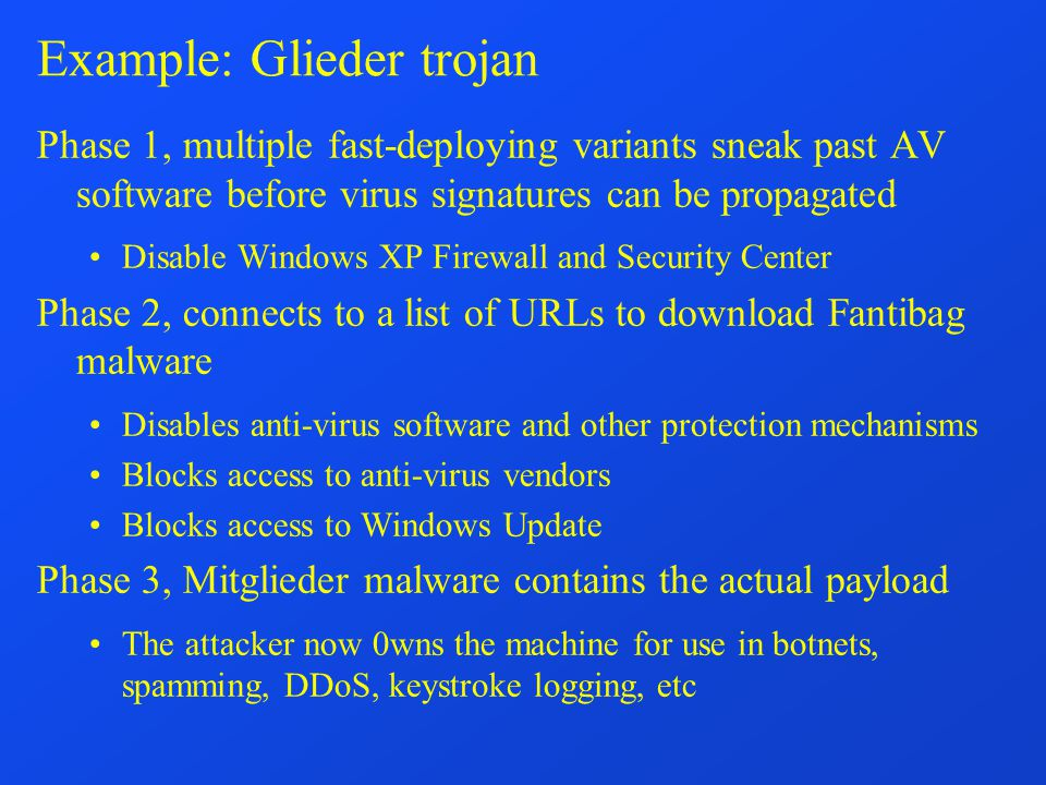 Example: Glieder trojan Phase 1, multiple fast-deploying variants sneak past AV software before virus signatures can be propagated Disable Windows XP