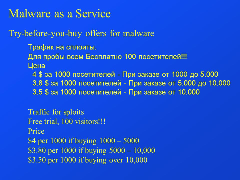 Malware as a Service Try-before-you-buy offers for malware Трафик на сплоиты.