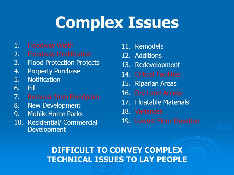 Complex Issues 1. 1.Floodway Width 2. 2.Floodway Modification 3. 3.Flood Protection Projects 4. 4.Property Purchase 5. 5.Notification 6. 6.Fill 7. 7.R