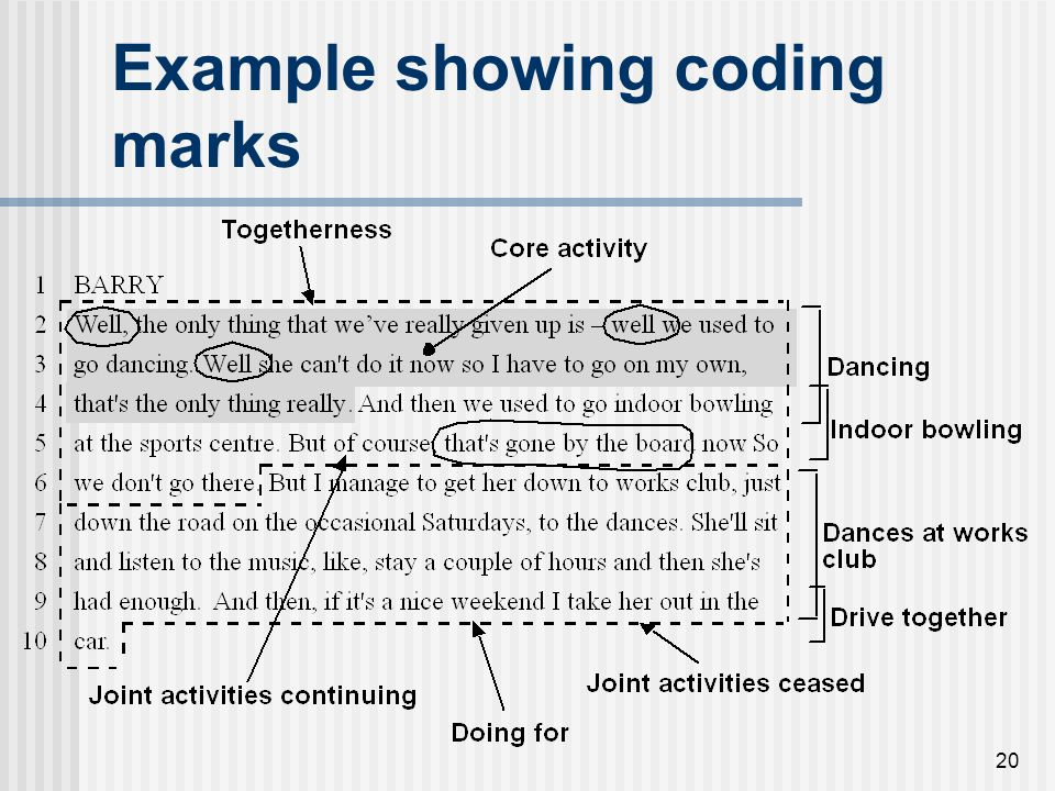 20 Example showing coding marks