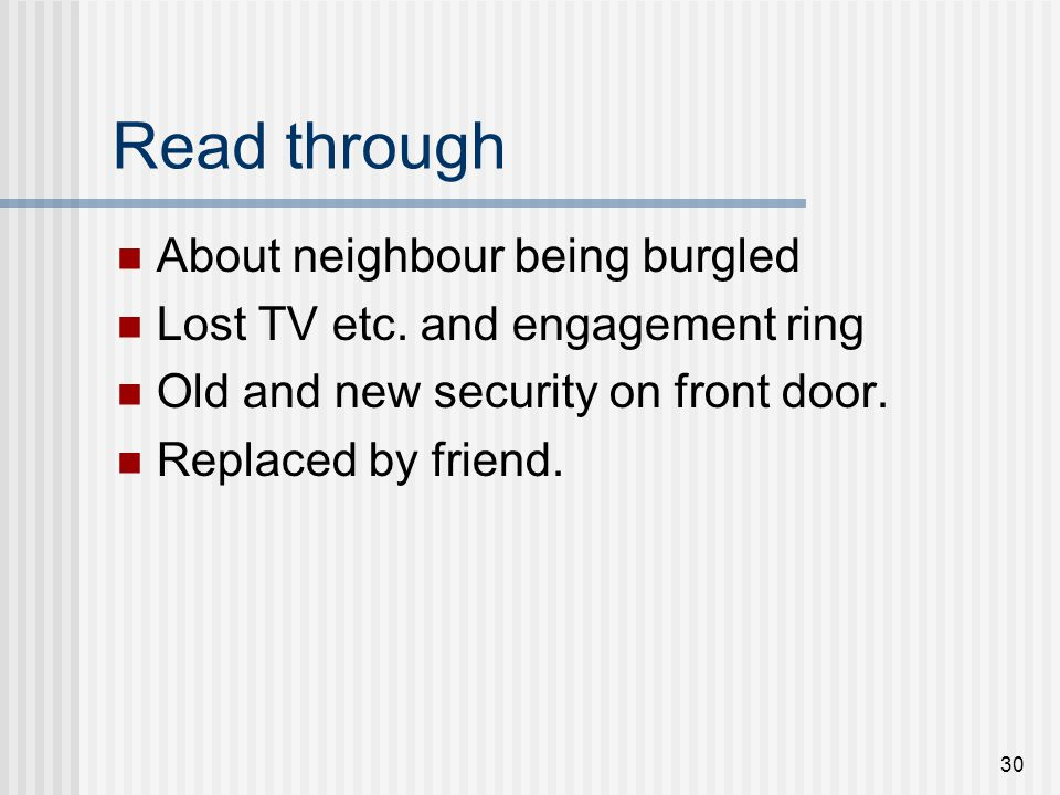 30 Read through About neighbour being burgled Lost TV etc. and engagement ring Old and new security on front door. Replaced by friend.