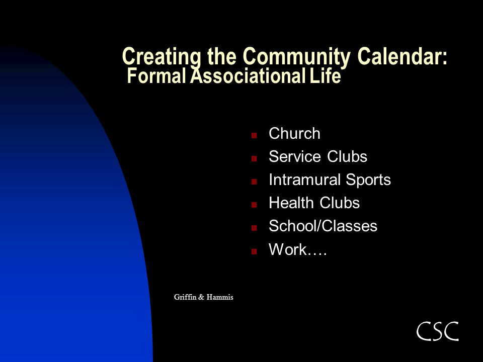 Creating the Community Calendar: Formal Associational Life Church Service Clubs Intramural Sports Health Clubs School/Classes Work…. Griffin & Hammis