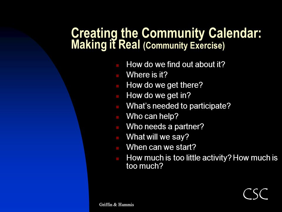 Creating the Community Calendar: Making it Real (Community Exercise) How do we find out about it? Where is it? How do we get there? How do we get in?