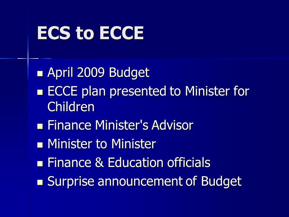 ECS to ECCE April 2009 Budget April 2009 Budget ECCE plan presented to Minister for Children ECCE plan presented to Minister for Children Finance Mini