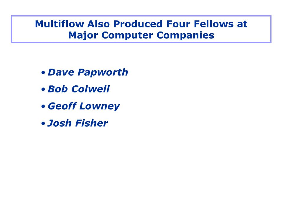 Dave Papworth Bob Colwell Geoff Lowney Josh Fisher Multiflow Also Produced Four Fellows at Major Computer Companies