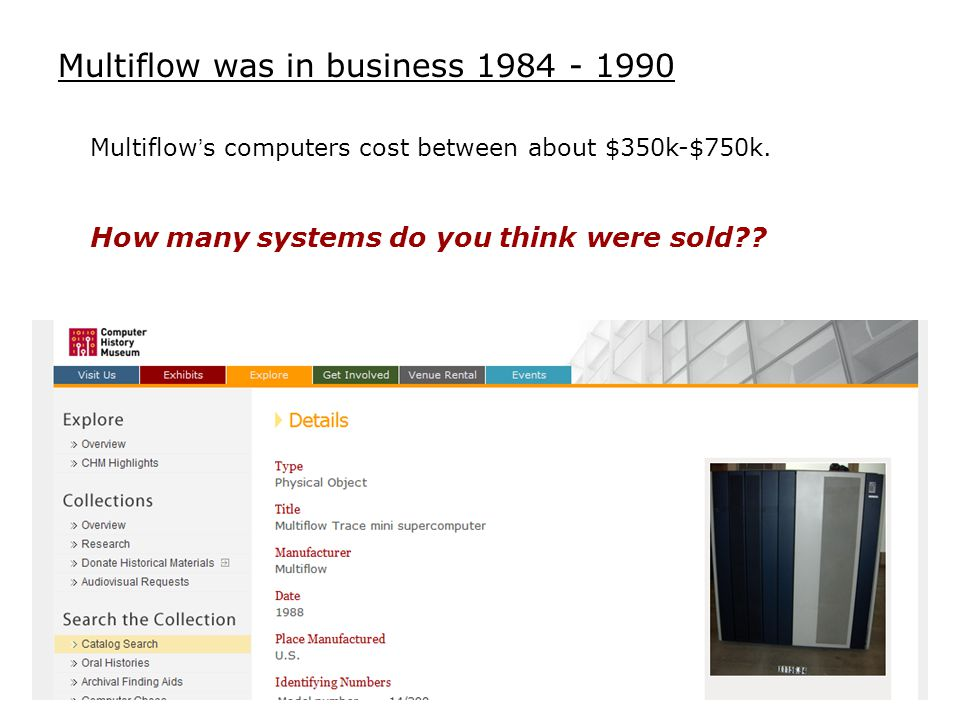 Multiflow was in business 1984 - 1990 Multiflow's computers cost between about $350k-$750k.