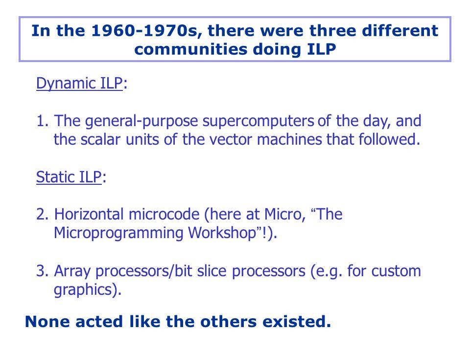 Dynamic ILP: 1.